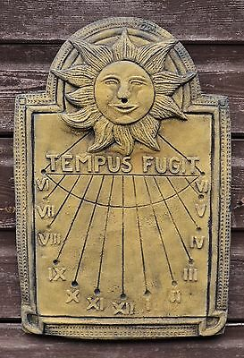 Wall Sundial Tempus Fugit decorative stone wall plaque garden ornament 40cm H