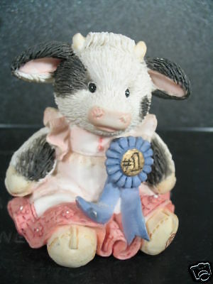 Enesco Mary's Moo Moos CREAM OF THE CROP Cow w/ Blue Ribbon