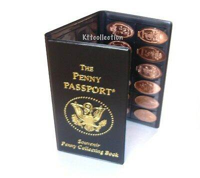 New PENNY PASSPORT ELONGATED PRESSED SMASHED COIN HOLDER BOOK SOUVENIR ALBUM
