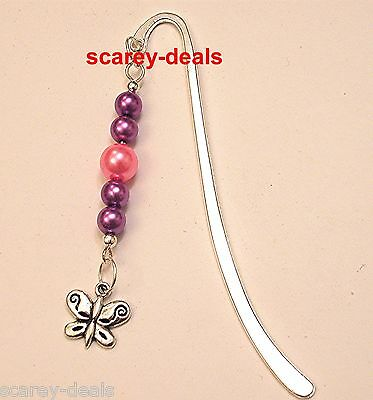 BOOKMARK BUTTERFLY pink purple PEARL BEADS SILVER BOOK MARKER 1st class post