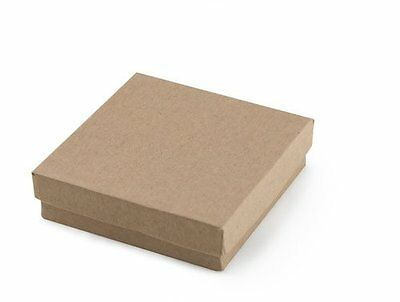 "100 Jewelry Gift Boxes 100 Kraft Cotton Filled Lid Tan 3 ½"" x 3 ½"" x 1"" High"