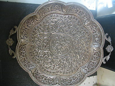 Vintage .800 SILVER ROUND SERVING TRAY Beautiful & Detailed 838 grams 12""