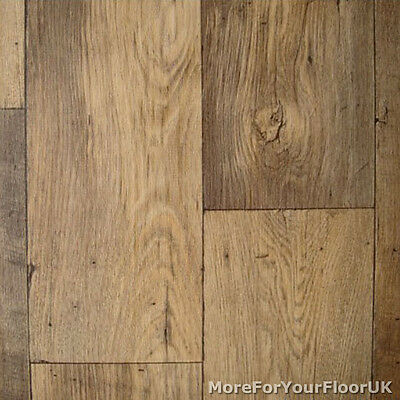 Vinyl Flooring - Dark Brown Oak Wood - Non Slip Lino 3m