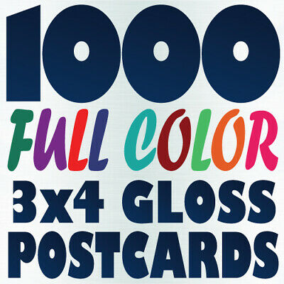 1000 3x4 Full Color Custom Postcard Printing on 16pt UV Gloss or Matte
