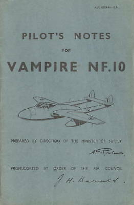 De Havilland Vampire Nf.10 - Pilot's Notes A.p.4099H