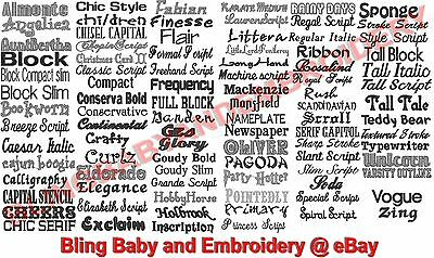 """Custom Embroidery Monogram 2"""" to 4"""" tall & 4"""" wide - 97 Fonts - 1 day turnaround"""