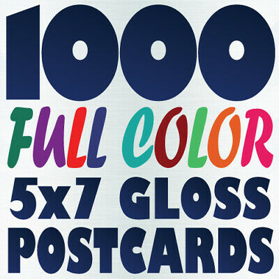 1000 5x7 Full Color Custom POSTCARD Printing on 16pt w/ Gloss or Matte Finish