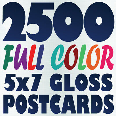 2500 5x7 Full Color Custom POSTCARD Printing on 16pt w/ Gloss or Matte Finish