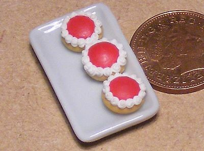 1:12 Scale Plate Of 3 Jam Tarts Dolls House Miniature Bakery Accessory PL26