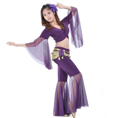 Belly Dance Costume Flared (Top, Pants, Belt) 11 Colors