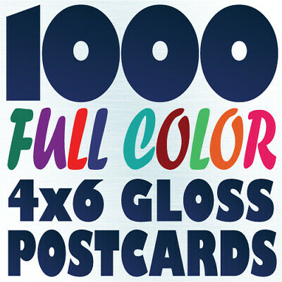 1000 4x6 Full Color Custom Postcard Printing on 16pt UV Gloss or Matte