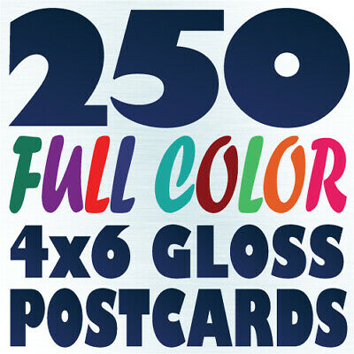 250 4x6 Full Color Custom Postcard Printing on 16pt UV Gloss or Matte