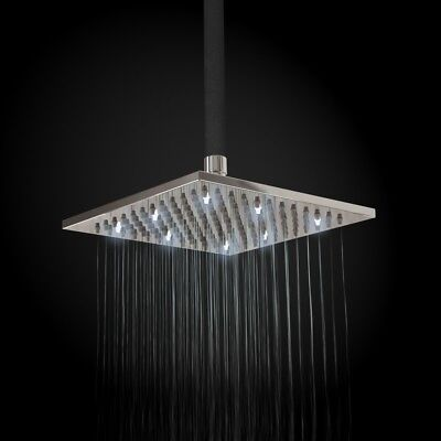 Square 200mm Fixed Brass Chrome Shower Head with White LED Lights
