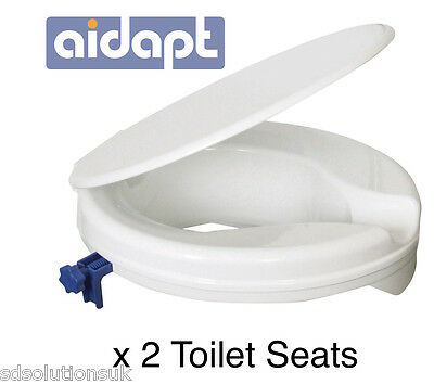 "2"" Raised Toilet Seat With Lid Easy to fit Mobility x 2"
