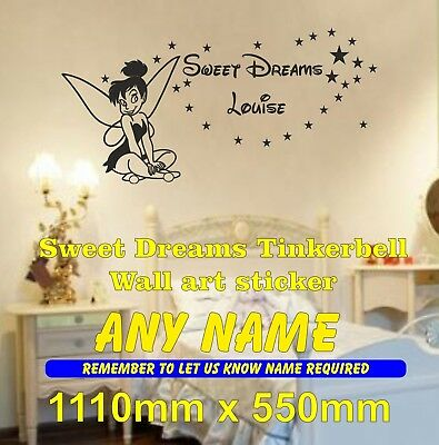 Tinkerbell  sweet dreams wall sticker girls bedroom decal personalised any name
