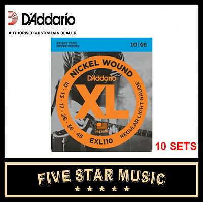 10 Sets D'addario Exl110 Electric Guitar Strings 10-46 New Xl110