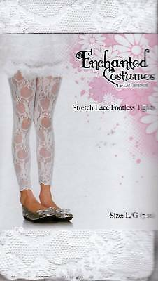 GIRLS STRETCH LACE FOOTLESS TIGHTS 2sizes BLACK WHITE