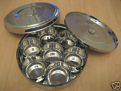 Indian Premium Stainless Steel Spice Tin Box Masala Dabba 160mm **SMALL SIZE**