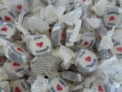 Silver Just Married Wedding Favour Rock Sweets X50