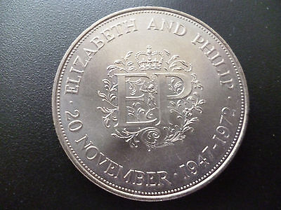 1972 Crown Coin Issued To Commemorate  Silver Wedding Of Elizabeth And Philip.