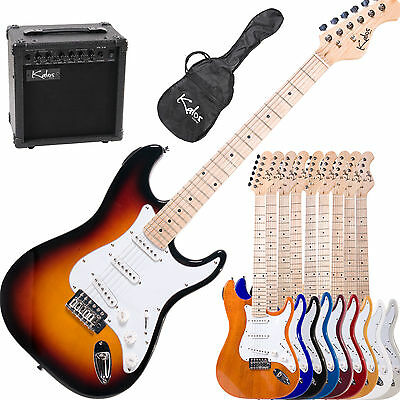 "39"" Kalos Full Size Electric Guitar Pack W/ 15w Amp +Lesson Book"