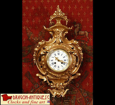 Japy Freres Antique French Gilt Cartel Wall Clock C1870