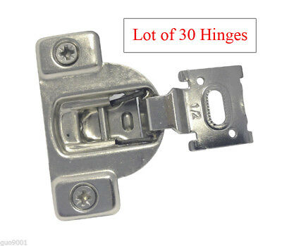 """30 Face Frame Nickel Cabinet Hinges Euro Concealed 1/2"""" Open 110 Degree 35mm Cup"""
