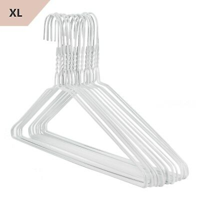 150 XXL 46cm White Wire Metal Shirt Coat Clothes Hangers Extra Wide Hangerworld