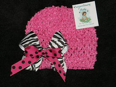 Hot Pink Crochet Hat w/ Zebra Boutique Bow Baby -Adult