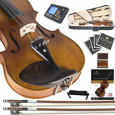 CECILIO CVN-500 4/4 - 1/4 Ebony Highly Flamed VIOLIN