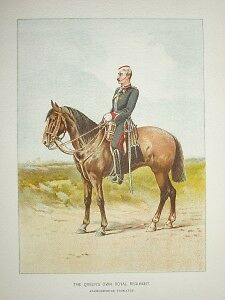 Fine 1905 Antique Military Print: Queens Own Royal Regt, Staffordshire Yeomanry