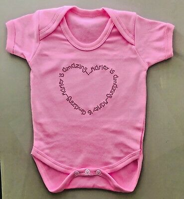 Heart print girls PERSONALISED babygrow vest ANY NAME. Great baby shower gift