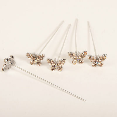 Faux diamond diamante Butterfly pins x 5 Gold