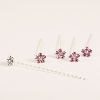 Faux diamond diamante flower pins x 5 Pink