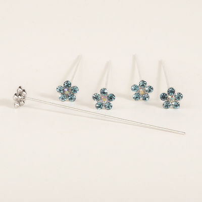 Faux diamond diamante flower pins x 5 Turquoise