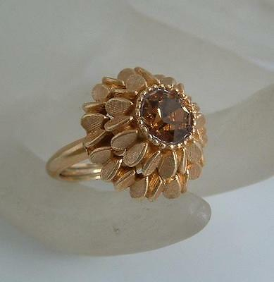 Sz 5 1/2 & smaller adjustable Ring VTG AVON Topaz-Color Detailed Layered Heart