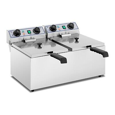 Fritteuse Edelstahl Gastronomie Doppel Fritteuse 2x 13 L Kaltzone 2x 3200W Timer