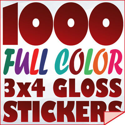 1000 Full Color Custom 3x4 STICKERS on 70Lb Label Printing with UV Gloss Finish