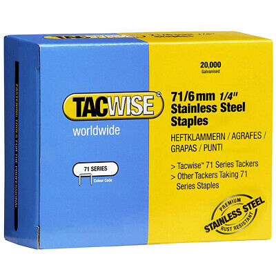 Tacwise Type 71/6 Stainless Steel Staples 6mm 20000 PK 1014