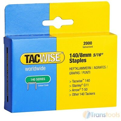 Tacwise 0346 Type 140 Series Staples  8mm 2000 Pack