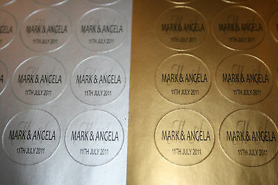 70 Personalised SILVER or GOLD Wedding Invitation Seals