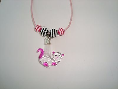 Custom made Name on Rice Necklace + Kitty Cat glass vial Pink Black beads
