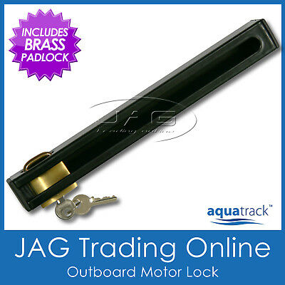 AQUATRACK OUTBOARD MOTOR LOCK & BRASS PADLOCK SUITS UP TO 50HP - Boat/Marine