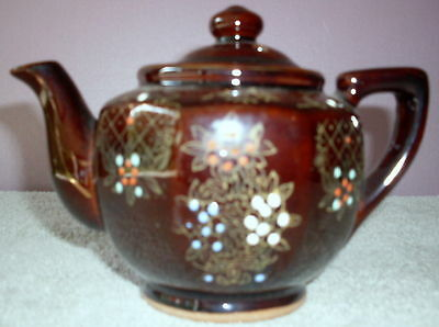 Vintage Acme China Hand Painted Teapot Glazed Clay
