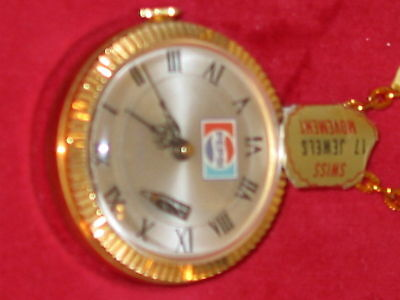 PEPSI NECKLACE WATCH 17 Jewels Swiss Movement OLD STOCK