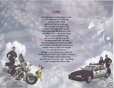 COP ON THE TAKE JUST A COP POLICE Poem Personalized Name Print