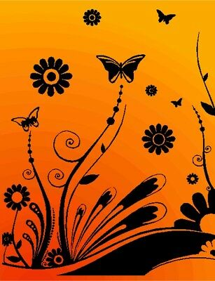 Butterfly Floral Flower Home Vinyl Wall Decal Sticker