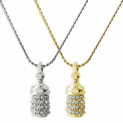 """Petite Baby Bottle Pendant on 18"""" Rope Chain Necklace"""