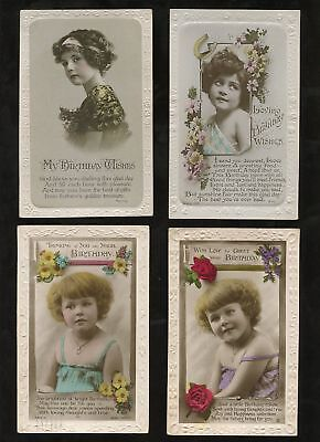 GB 1920s BIRTHDAY PPCs BROMIDES GLOSSY CHILDREN 8 CARDS