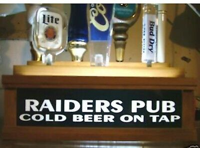 Lighted RAIDERS PUB 7 beer tap handle kegerator display